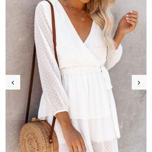 White sheer sleeve dress